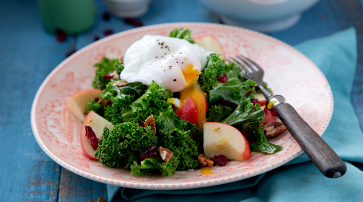Kale Salad with Apple, Cranberries and Poached Eggs - SuperValu