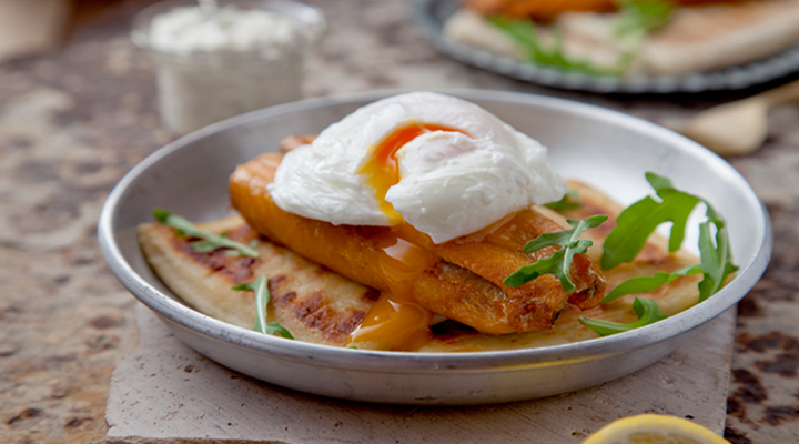 grilled kippers with poached eggs  potato farl and lemon