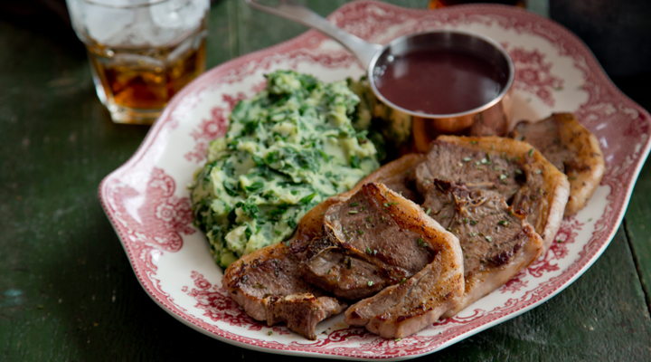 Pan Fried Lamb Chops With Spinach And Mashed Potatoes