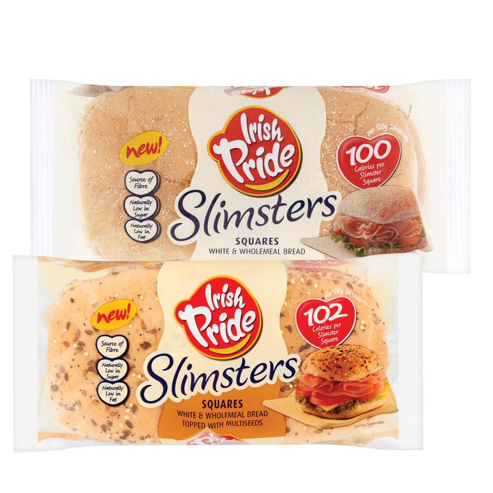 Irish Pride Slimsters Wholemeal / Multigrain Wholemeal Square Bread 4 Pack