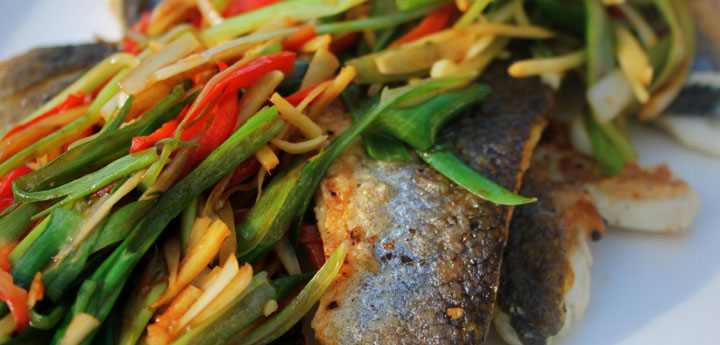 Sea Bass Fillets with Zingy Ginger, Chilli and Spring Onion
