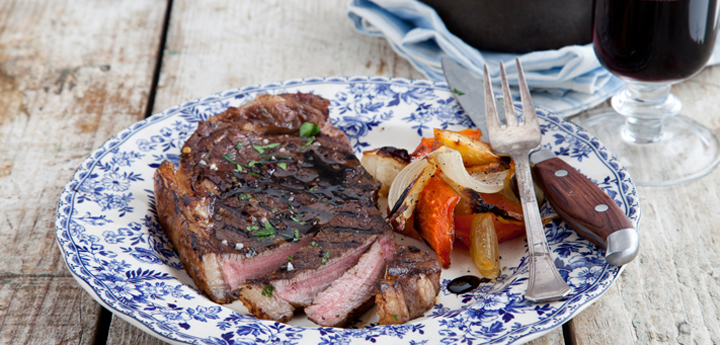 Balsamic Steak with Crushed Baby Potatoes and Root Vegetables