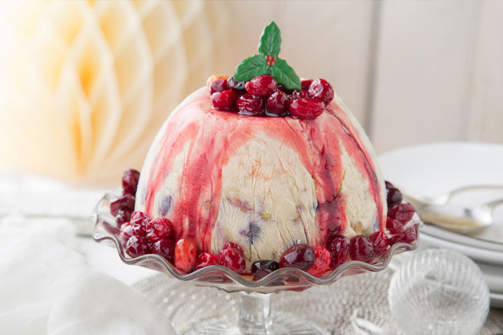 Frosted Christmas Pudding Bombe with Cranberry Compote