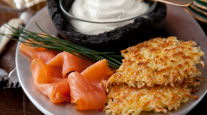 Potato Pancakes with Creme Fraiche and Smoked Salmon - SuperValu