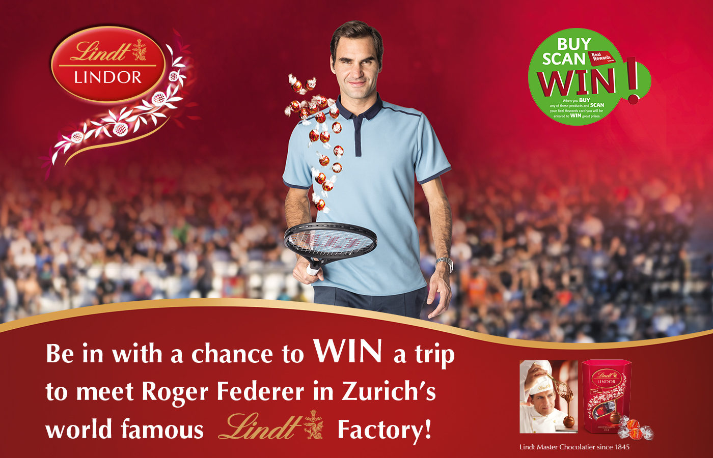 WIN a trip to meet Roger Federer in Zurich's world famous Lindt Factory!