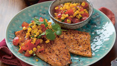 Grilled trout tomato sweetcorn lime salsa recipe