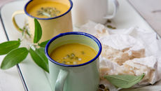 Honey roasted pumpkin sage goat cheese soup recipe