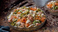 Courgette feta salmon pasta salad recipe
