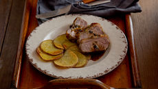 Roasted lamb loin maxims potatoes recipe