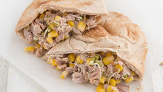 Tuna sweetcorn pitta pockets recipe