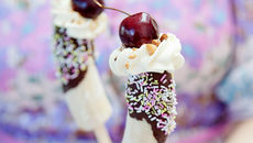 Sharon iced banana split pops