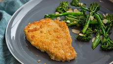 Quinoa and Parmesan-Crusted Pork Chops with Roast Tenderstem Broccoli