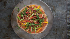 Spelt Pizza with Asparagus, Radicchio and Rainbow Vegetables