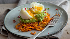 Spiralised Sweet Potato Rosti With Avocado, Lime And Chilli