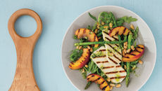 Grilled halloumi and peach salad