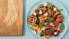 Grilled mediterranean vegetable salad with goats cheese