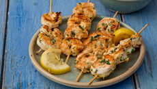 Prawn Skewers with Garlic Bread