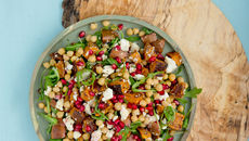 Roast sweet potato chickpea and feta salad with pomegranate