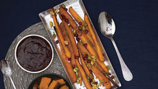 Roasted carrots pomegranate pistachios