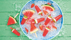 Watermelon fruit cocktail pops recipe