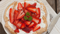 Chocolate Swirl Pavlova with Fresh Cream & Strawberries
