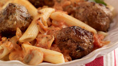 Homemade Meatballs with Tomato Sauce & Penne Pasta