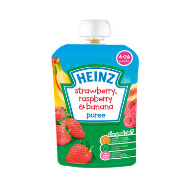 Heinz fruit pouches strawberry raspberry banana