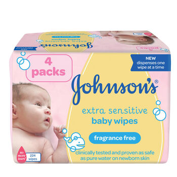 Johnsons extra sensitive 4 pack wipes