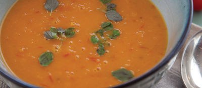 Tomato carrot cardamom soup recipe