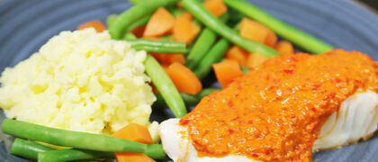 Cod with Roasted Red Pepper Sauce Recipe