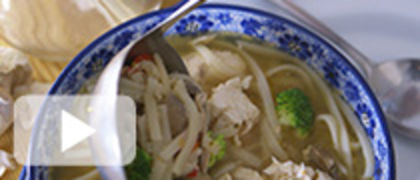 Chicken and Veggie Rice Noodle Soup