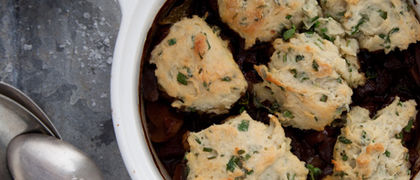 Traditional Beef Casserole with Herb Dumplings