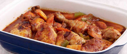 Braised Chicken Legs with Chunky Vegetables and Tomato Sauce