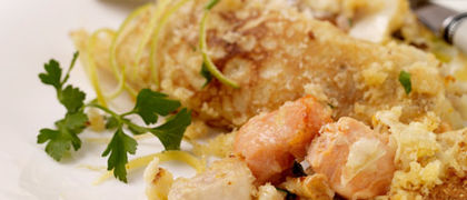 Creamy Seafood Crêpes with a Herb and Lemon Crust