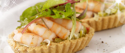 Prawn & Creamed Leek Tartlet with Parmesan Pastry