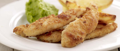 Cheesy Chicken Goujons, Pea Puree and Oven Baked Chips
