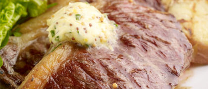 Sirloin Steak with Mustard Butter & Barbecue Potatoes