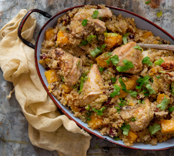 Autumnal chicken pumpkin quinoa pot recipe