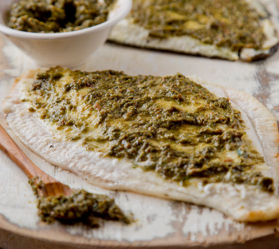 Baked fillets plaice rocket pesto recipe