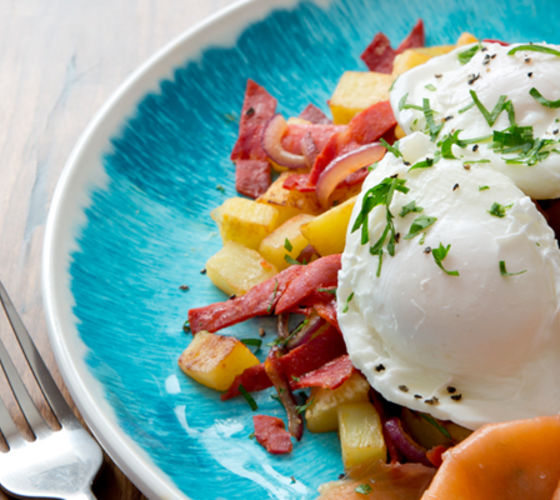Chorizo hash poached egg smoked salmon recipe
