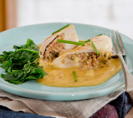 Cider baked stuffed chicken breasts recipe
