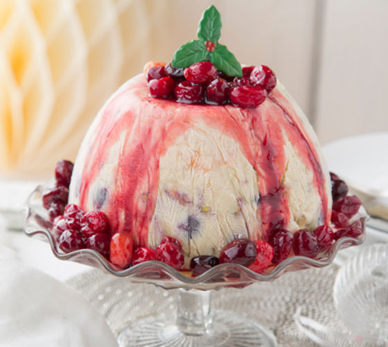 Frosted christmas pudding bombe cranberry compote recipe