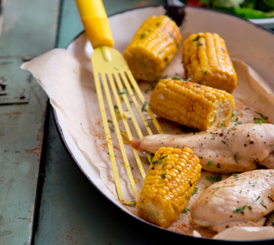 Garlic herb chicken oven roasted corn recipe