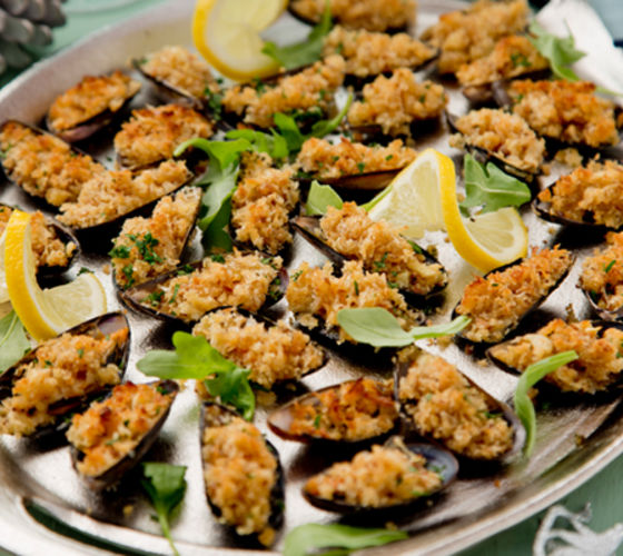 Garlic stuffed mussels recipe