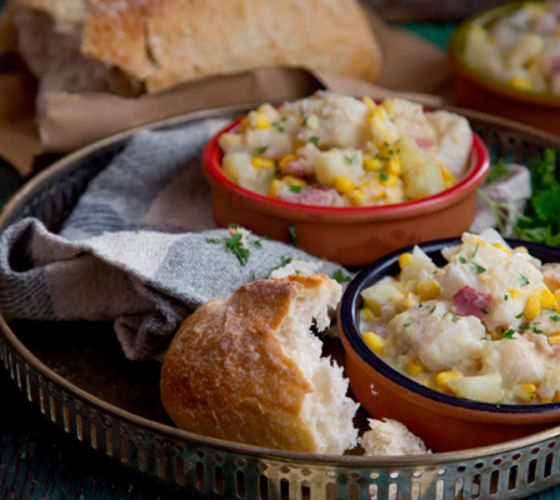 Hearty haddock corn stew recipe
