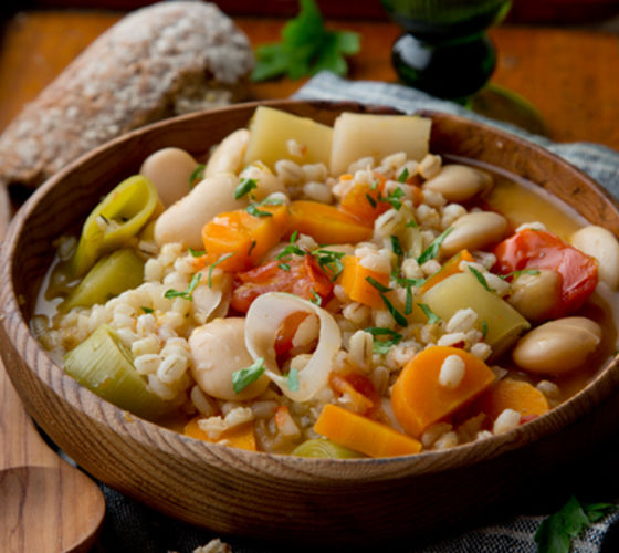 Hearty winter barley butterbean stew recipe