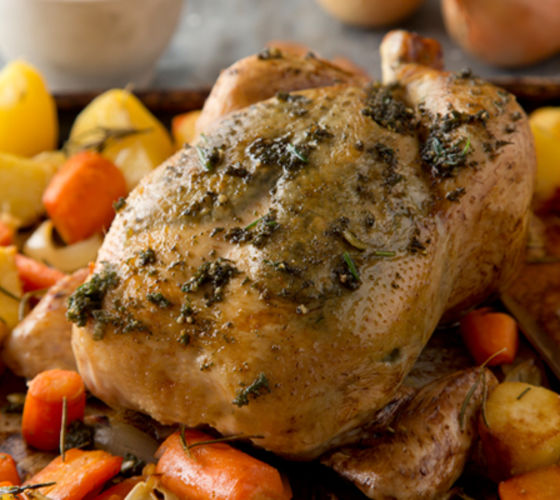 Herb pesto chicken winter root vegetables recipe