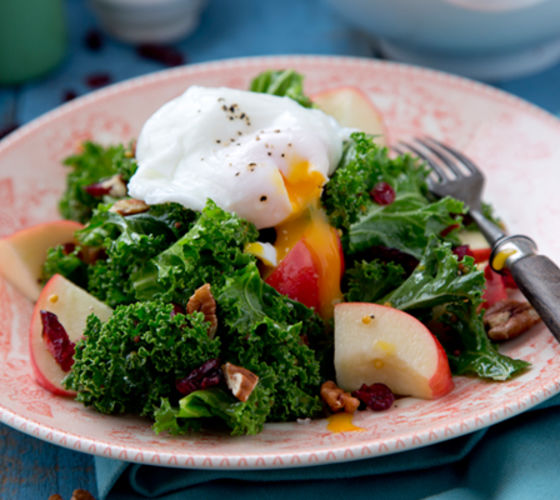 Kale salad apple cranberries poached egg recipe