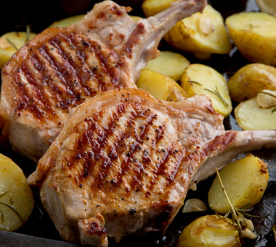Lollipop pork chops rosemary potatoes lemongarlic beans recipe