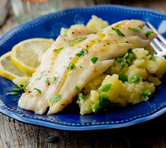 Pan fried haddock crushed potatoes peas recipe